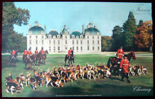 Original Poster France Castle Cheverny Loire Dog Horse Hunting Vintage