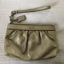 Authentic COACH Gold Metallic Leather Wristlet Clutch Handbag Purse Pre-Owned