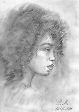 original drawing A4 62PK art watercolor pencil, watercolor female portrait 2021