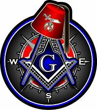 "ProSticker 118 (One) 4"" Masonic Shriner Compass Square Fez Decal Sticker Lodge"