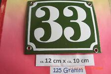 Hausnummer Nr.33 weiße Zahl auf gras - grünem Hintergrund 12 cm x 10 cm Emaille