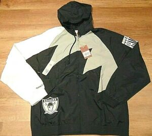 MITCHELL & NESS NFL OAKLAND RAIDERS SHARK TOOTH HOODED JACKET SIZE 3XL