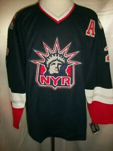 """Brian Leetch New York Rangers Blue """"Statue of Liberty Throwback"""" CCM NHL Jersey"""