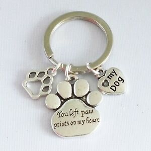 """""""You left paw prints on my heart"""" - Dog Pet Memorial Paw Print Shaped - Keyring"""