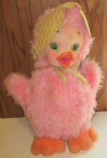 """Vintage RUSHTON Plush CHICK Chicken pink RUBBER FACE stuffed Doll with hat 17"""""""