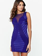 BNWT Lipsy Bodycon Dress Size 8 Purple Mesh Insert Mini Party Club Xmas