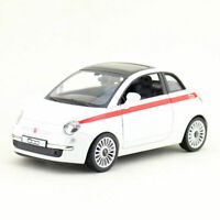 1:30 Scale Fiat 500 Model Car Metal Diecast Gift Toy Vehicle Pull Back White Kid