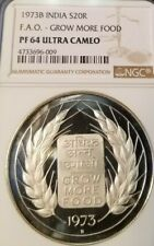 1973 INDIA SILVER 20 RUPEES FAO GROW MORE FOOD NGC PF 64 ULTRA CAMEO LOW MINTAGE