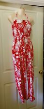 vintage red floral full length jumpsuit tiki handmade rockabilly retro