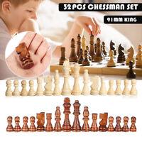 Wooden Chess Set 32 Pieces 2 Colour Wood Felted Hand Crafted Set Large