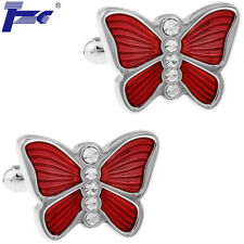 Men Red Butterfly With Stone Shirt Cufflinks With Velvet Bag TZG Cuff Links