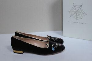 sz 7 / 37.5 Charlotte Olympia Lol Kitty Toe Charcoal Velvet Slip on Flat Shoes