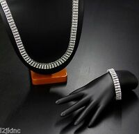 """Mens Silver Plated Iced Out 30"""" 3 Row Simulated Cz Hip-Hop Chain & Bracelet"""