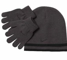 Nike Boys Knit Hat & Gloves Set 8-20 Beanie REVERSIBLE Winter BLACK GRAY Swoosh