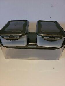 New Lock & Lock 3-Piece Bread Box, butter storage set graphite