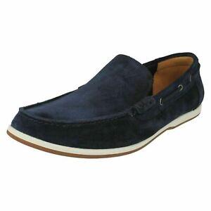 Mens Clarks Morven Sun Navy Suede Leather Slip On Shoes