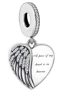 A PIECE OF MY HEART IS IN HEAVEN CHARM GIFT 925 STERLING SILVER GIFT 💜💛💜