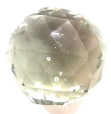 "Crystal Cut Bubble Art Glass Ball Paperweight 3"" Smoky Collectible Vintage"