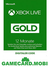 Xbox Microsoft Live Gold Carte 12 Mois XBOX 360 One /Xbox 12 Month abbonament FR