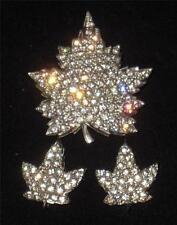Vintage Set of 3 Brooches Pins Signed ANTHONY, Rhinstones, Leaf Shaped