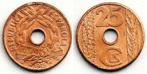 Spain-II Republica. 25 Centimos. 1938. SC/UNC. Cobre 4,9 g. Brillo original