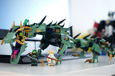 kids lego ningago green dragon 592 pcs Building Kit Blocks Toy +4 ninga wariers