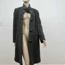 Fleurette Wool Coat Gray Boiled Wool Blend Large Buttons Pockets Size 4