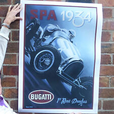 Spa 1934 bugatti dreyfus vintage automobile poster voiture racing motorsport 50s 60s-A4