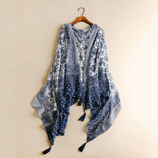 Women's Fashion Bohemia Style Cotton and Linen Tassel Shawl Scarf