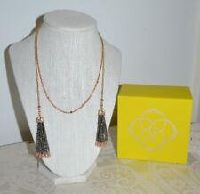 NWT $120 Kendra Scott 'Monique' Tassel Pendant Necklace Brown Pyrite Gold Plate