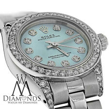Ladies Diamond Rolex Oyster Band baby blue Diamond Dial 26mm Automatic Watch
