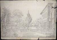 1830-OCKHAM-ARCHITETTURA-GIARDINI-BELLISSIMO DISEGNO A MATITA-PENCIL DRAWING