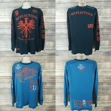 AFFLICTION Size XL THERMAL Shirt REVERSIBLE American Customs $68 READ