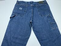 Men's Wrangler Rugged Wear Carpenter Blue Jeans Denim Size 38x30 Made in USA