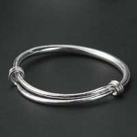 New Fashion Women Tibetan Silver No-Carving Bangle Bracelet Jewelry Adjustable