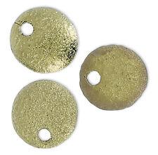 20 Preciosa Czech glass Texturé Rond Lentille Perles + un trou, Old Gold, 6 mm
