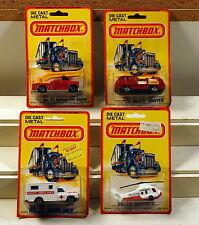 DTE 4 1980 CARD LESNEY MATCHBOX SUPERFAST 13 SNORKEL FIRE ENGINE, 26 AMBULANCE