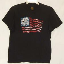 "LUCKY BRAND Men's ""USA Flag"" Black Cotton S/S Graphic T-Shirt Size Large"