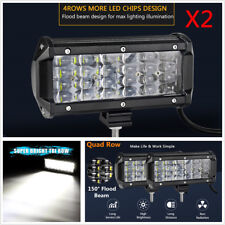 "Pair 6.5"" 144W Quad Row Light Bar Off-road Driving Fog Lamp Flood LED Work Light"
