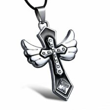 Men's Stainless Steel Silver Wing Cross Leather Pendant Necklace Fashion Jewelry