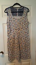 Lily and Me size 16 sleeveless floral cotton dress with lace in blue