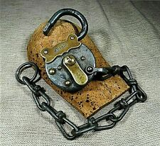 ANTIQUE YALE PADLOCK WITH CHAIN MADE IN GERMANY NO KEY