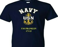 USS FRANKLIN  CV-13  VINYL & SILKSCREEN NAVY ANCHOR SHIRT.