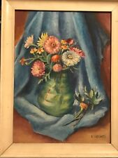 Vintage original 1948 signed T. Yerkes still life oil painting floral bouquet
