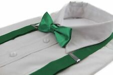 BOYS GREEN MATCHING BOW TIE + SUSPENDER SET KIDS UNISEX DRESS UP WEDDING FORMAL