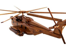 CH-53 Sea Stallion Helicopter Handcrafted Natural Premium Wood Desk Model