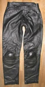 """"""" BMW """" Men's Leather Trousers/Biker Trousers/Leather Jeans IN Black Size 48"""