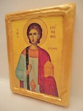 Saint Stephen Agios Stefanos Rare Greek Eastern Orthodox Icon Art on Aged Wood