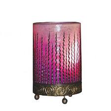 PINK Fiberglass Table Bedside Lamp Wave Design Handmade Fair Trade