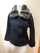 Loro Piana Navy Blue Cashmere Jacket With Chinchilla Collar